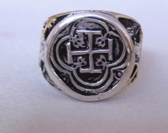 Atocha Coin 18K Solid Gold Sterling Silver Ring