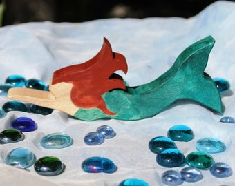 Swimming Wooden Mermaid Toy - Natural Eco Friendly Waldorf Wood Toy