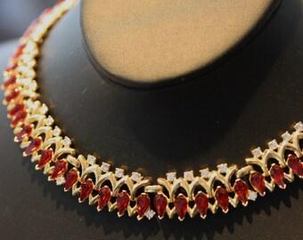Luscious red rhinestone navettes vintage Trifari necklace