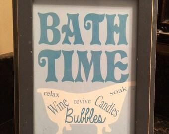 Bathroom Art Print, Bath Time, Bathtub, Bathroom Wall Art, Bath Decor, Wine, Bath, Beach Colors