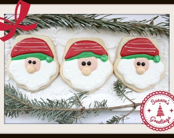 Custom Decorated Santa Sugar Cookies