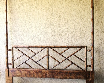 CHINESE CHIPPENDALE CHINOISERIE Faux Bamboo Queen Headboard