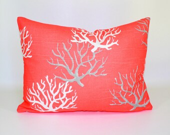 ZIPPER PILLOW COVER Salmon pillow cover, nautical pillow, coastal pillows, seahorse, starfish, ocean beach pillows -