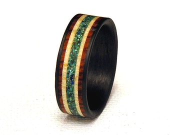 Birds Eye Maple Natural Mix Turquoise Cocobolo Rosewood Bands Wood Inlay Carbon Fiber Wedding Band or Ring