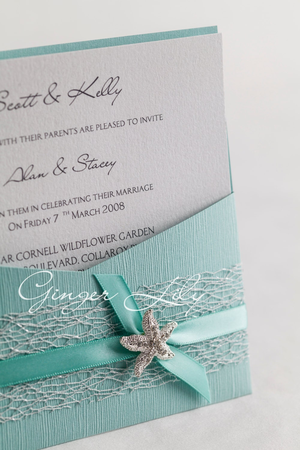 diy elegant beach pocket wedding invitation kit reef