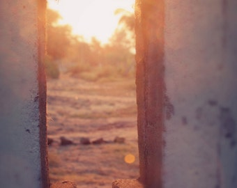 Sunset, Tanzania, Africa, Rural, Rustic, Travel Photography, yellow, glowing, Wanderlust, Landscape, 8 X 10 Print--Outside Looking In
