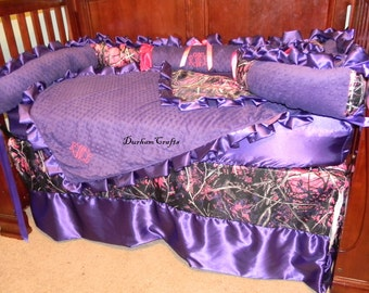 6pc muddy girl camo with purple and pink ruffled bedding