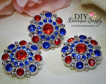 4th Of July Rhinestone Buttons Red White Blue July 4th Rhinestone Embellishments Acrylic Flower centers Headband Supplies 10pcs 28mm 593040