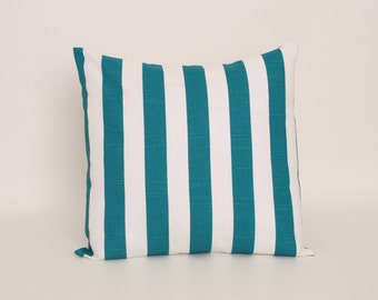 Teal Blue Throw Pillow Cover designed for a 14 or 16 inch insert Premier Prints  Aquarius Canopy Pattern, Cotton Slub Home Decor Fabric