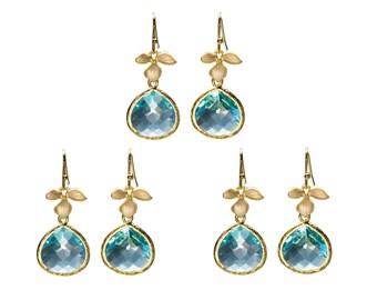 Aqua Leaf Earrings, Flower Earrings, Drop Earrings, Dangle Earrings, Wedding Jewelry, Bridesmaid Jewelry, Mother's Day