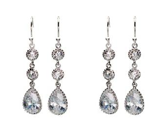 CZ Drop Earrings, Wedding Jewelry, Bride Earrings, Bridesmaid Jewelry, Dangle Earrings, Drop Earrings, Mother's Day