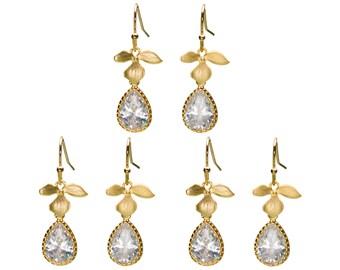 CZ Leaf Earrings, Flower Earrings, Wedding Jewelry, Bridesmaid Jewelry, Dangle Earrings, Drop Earrings, Mother's Day
