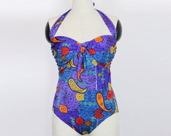 vintage one piece swimsuit/ 90s purple swimwear/ colorful halter ties bathing suit