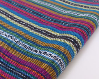 Striped Fabric (#10) - Tribal Fabric - South American Fabric - 100%  Cotton - 1 yard