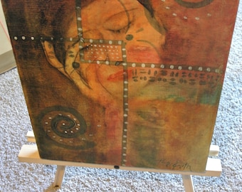 """Vintage oil painting """"Contemplation"""" female abstract"""