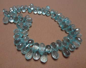 Natural aquamarine Briolette Drops  8 to 10 mm 50 pcs   AAA Quality