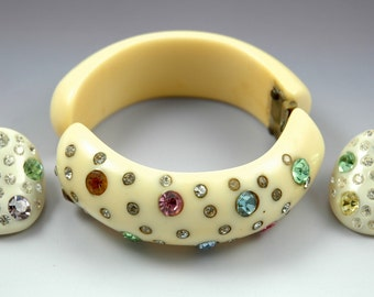 Vintage Costume Jewelry Weiss Rhinestone Lucite Bangle and Earring Set