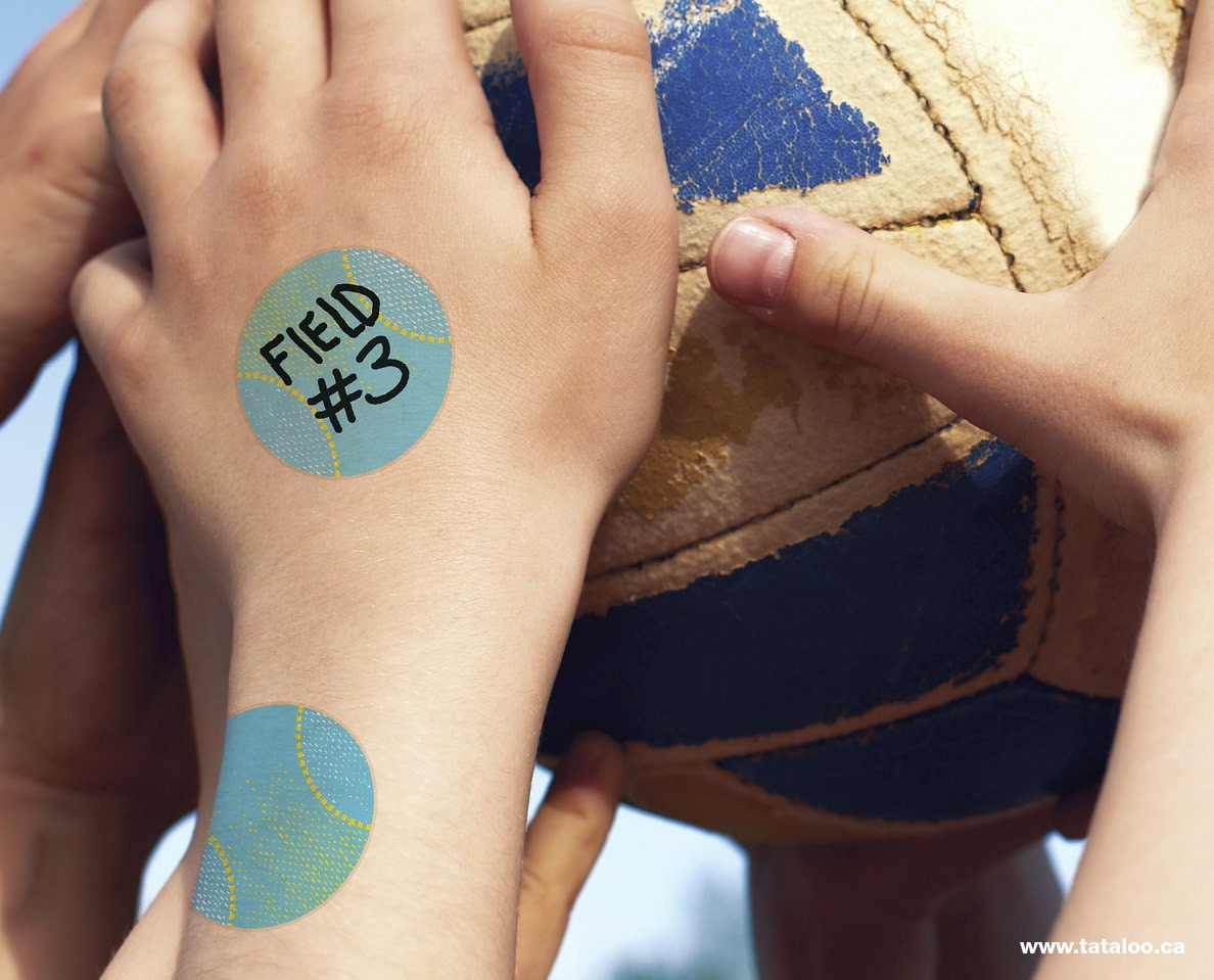 Write on sports temporary tattoo for kids set of 2 for Temporary tattoos for kids