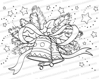 Christmas Digi Stamp with Xmas Bells, Instant Download