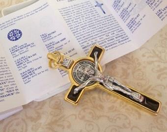 "St. Benedict Medal crucifix 3"" tall/  Crucifijo con medalla de San Benito"