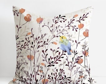 Watercolor Floral Bright Finch Pillow Cover, Floral Pillow Cover, Watercolor Throw Pillow Cover, Designer Pillow Covers, Handmade Pillow