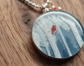 Starbucks Red Bird necklace in sterling silver, resin and diamond cut sterling silver chain. Made from recycled, upcycled  gift cards.
