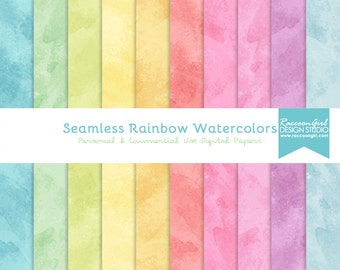 50% OFF Seamless Rainbow Watercolor Texture Digital Paper Set - Personal & Commercial Use
