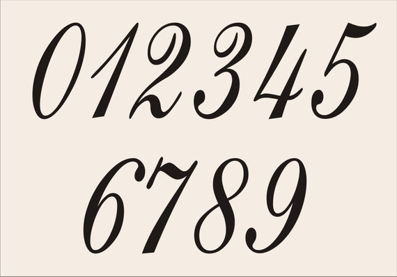 no and numbers stencil set design 005 6 size options