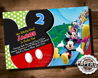 MICKEY MOUSE Birthday Invitation, Mickey Mouse Clubhouse Invite, Mickey Mouse Invitation, Personalized, Printable, Pink Frosting Paperie