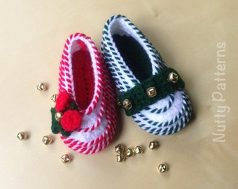 Crochet Patterns * Christmas * Candy Cane Shoes * Babies and Toddlers * Instant Download Pattern # 445 * Easy * Jingle Bells *