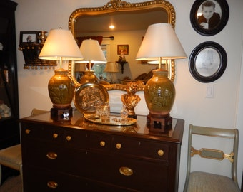 CHINESE OLIVE GREEN Lamps with Shades