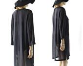 Sheer black Tunic /Dress long sleeve beach cover up drawstring m/l medium/ large
