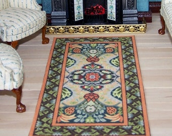 Miniature Carpet for Dolls House William Morris Arts and Crafts, 1:12 scale dolls house carpet, Mini Victorian Rug