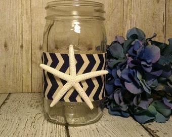 3 Starfish Mason Jar Centerpiece, Nautical Centerpiece, Beach Centerpiecepomander