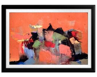 Original Artwork - Midcentury Modern Art - Contemporary Art Giclee Print - Cityscape by Ccreationss