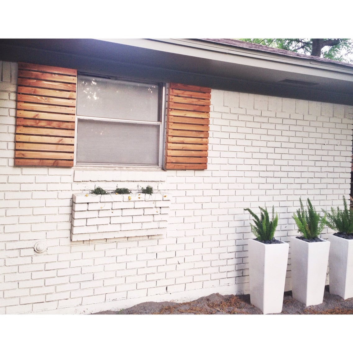 Modern Wood Slat House Shutters Pair