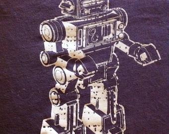 Brown Robot Upcycled Reusable T-Shirt Tote Medium Size