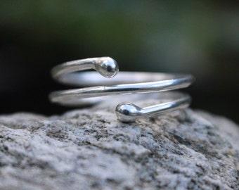 Silver Twist Ring Spiral Stacking Adjustable Argentium Sterling Silver