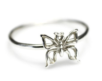 Butterfly Stacking Ring, Butterfly Jewelry, Gift for Gardener