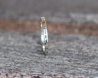 Personalized sterling silver thin stack ring K001