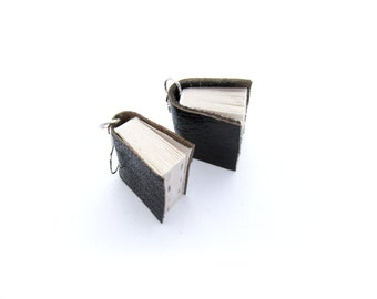 Black Leather Miniature Book Earrings - Upcycled Book Jewellery - Handcrafted for a Literature Lover