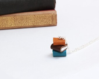 Colourful Book Stack Necklace - Miniature Pile of Books - Ex Libris - Coloured Leather Handcrafted Book Necklace - Handcrafted OOAK