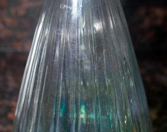 Vintage green carnival glass decanter