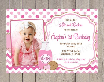 Girl First Birthday Invitation, Milk and Cookies Party, Pink and Brown, Strawberry, Chevron, Polka Dots 1st, 2nd, 3rd, 4th, 5th, 6th - 5097