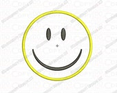Smiley Face Applique Embroidery Design in 2x2 3x3 4x4 and 5x7 Sizes