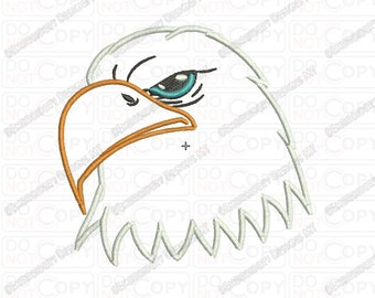 Bald Eagle Head 2 Layer Applique Embroidery Design in 3x3 4x4 and 5x7 Sizes