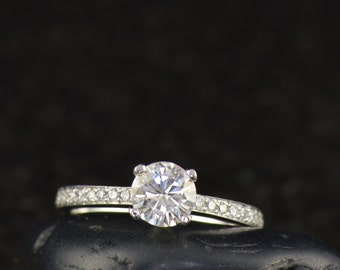 April - Moissanite and Diamond Engagement Ring in White Gold, 4-Prong Round Brilliant Cut Solitaire with Pave Set Accents, Free Shipping