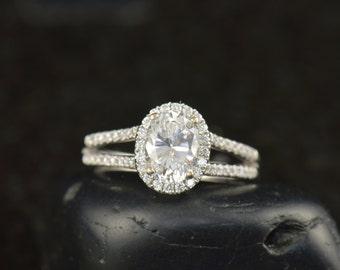 Hadley-Audrina - Forever Brilliant Moissanite and Diamond Engagement Ring in White Gold, Oval Cut Center, Split Shank Design, Free Shipping