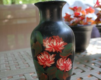 Vintage Handmade Black Vase with Red and White Flowers 2403