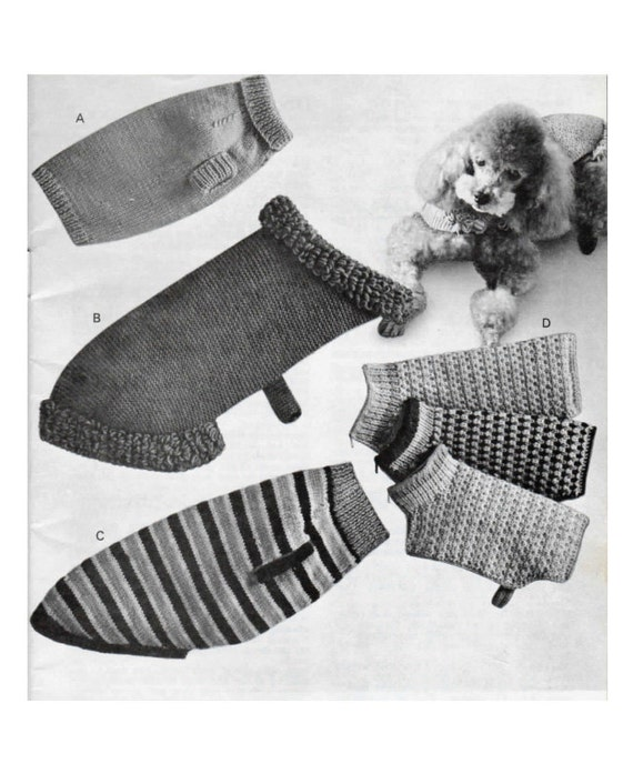 Vintage Knitting Pattern to knit 4 types of Dog Coats in 3